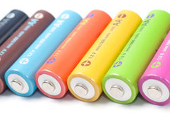 Baterías recargables del AA Fotos de archivo