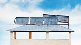 Baterías solares en la casa Imágenes de archivo libres de regalías