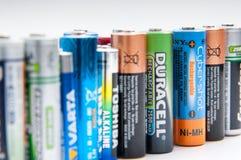 Baterías usadas Foto de archivo libre de regalías