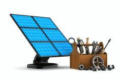 Batería solar en el fondo blanco Fotografía de archivo