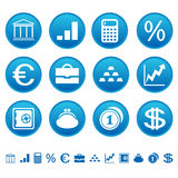 Baterías y iconos de las finanzas Imagen de archivo libre de regalías