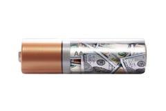 Bateria ładować z dolara pojęciem inwestycja Zdjęcia Stock