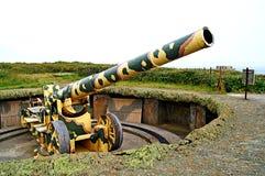 Bateria alemão Pleinmont do dólmâ do cânone WW2, Guernsey Imagens de Stock