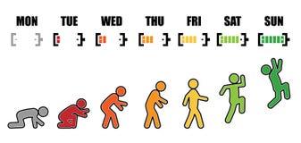 Bateria colorida da evolução semanal da vida ativa ilustração stock