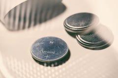 Bateria de prata da pilha do botão Foto de Stock Royalty Free