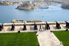 Bateria de saudação de Lascaris em Valletta, capital de Malta Fotos de Stock