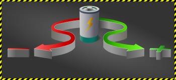 Bateria e sinal de adição menos setas coloridas no fundo escuro Imagem de Stock
