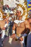 Bateria la sección musical en el desfile brasileño de Carnaval Foto de archivo libre de regalías