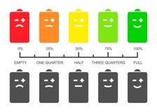 Bateria pozioma skala z smiley ikonami ilustracja wektor