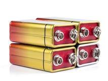Bateria preliminar que tem uma tensão do norminal de 9 volts Fotografia de Stock