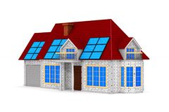 Bateria solar e casa no fundo branco Ilustração 3d isolada ilustração do vetor