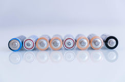 A bateria velha estava escapando, resíduos perigosos fundo abstrato de baterias coloridas Tamanho do aa da pilha alcalina grupo Imagens de Stock Royalty Free
