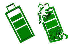 Bateria verde inteira e quebrada dispositivos Conceito-amigáveis 3d Fotos de Stock Royalty Free