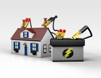 Bateria - zasilany dom Ilustracji