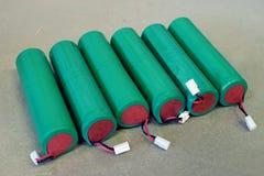 Baterias da cor verde em seguido Foto de Stock Royalty Free