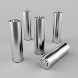 Baterias de prata do AA Fotografia de Stock