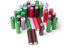 baterias do Li-íon 18650 Fotografia de Stock Royalty Free