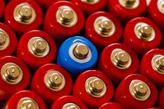Baterias dobro do AA no leve ângulo vertical Fotos de Stock Royalty Free