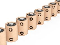 Baterias longas do eco da fileira feitas dos componentes naturais e do papel reciclado Conceito verde da energia ilustração stock