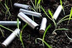 Baterias usadas imagem de stock