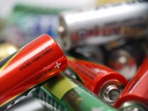 Baterias usadas do AA Foto de Stock