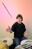 Baterista com a vara no ar imagens de stock royalty free
