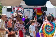 Baterista de Batala NYC no festival do orgulho de Rockland Imagem de Stock Royalty Free