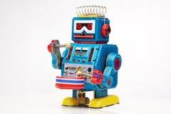 Baterista do robô do brinquedo do estanho imagens de stock royalty free