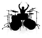 Baterista Silhouette do músico ilustração do vetor