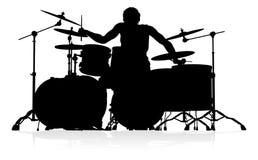 Baterista Silhouette do músico ilustração stock