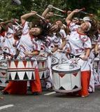 Bateristas da execução de Batala Banda de Percussao Fotografia de Stock Royalty Free