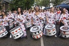 Bateristas de Batala Banda de Percussao Fotografia de Stock Royalty Free