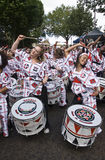 Bateristas de Batala Banda de Percussao imagem de stock royalty free