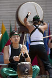 Bateristas de Taiko Fotografia de Stock