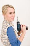 bateryjna domowego ulepszenia śrubokrętu kobieta Fotografia Royalty Free