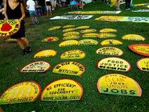 Bateryjnego parka Miasto Nowy Jork Ziemskiego dnia protest i wiec fotografia stock