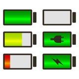 Bateryjnego użycia lub ładunku statusu kreskowej sztuki ikona ustawiająca dla royalty ilustracja