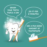Instruction for kids how to properly brush your teeth - dentist`s advice. Tooth care poster for children on blue background royalty free illustration