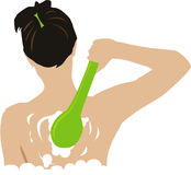 Bath. Body care illustration,woman in bath vector illustration