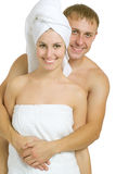 After bath. Men and women after taking baths. On a white background Royalty Free Stock Photography