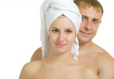 After bath. Men and women after taking baths. On a white background Stock Image