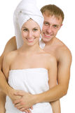 After bath. Men and women after taking baths. On a white background Royalty Free Stock Image