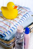 Bath. Accessories and clothes for a baby Royalty Free Stock Images