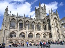 Bath Abbey. And Courtyard, Bath England stock photography