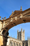Bath Abbey and archway Stock Images