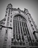 Bath Abbey Church. Exterior of Bath Abbey, or the Abbey Church of Saint Peter and Saint Paul, in Black and White Royalty Free Stock Photography