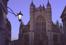 Bath Abbey. In the evening with streetlamp Royalty Free Stock Photo