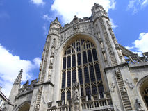 Bath Abbey Front. An upward shot from infront of the Bath Abbey, England royalty free stock images