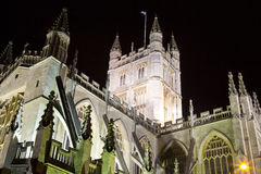 Bath Abbey at Night Stock Image
