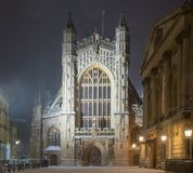 Bath Abbey at night, in the snow stock images